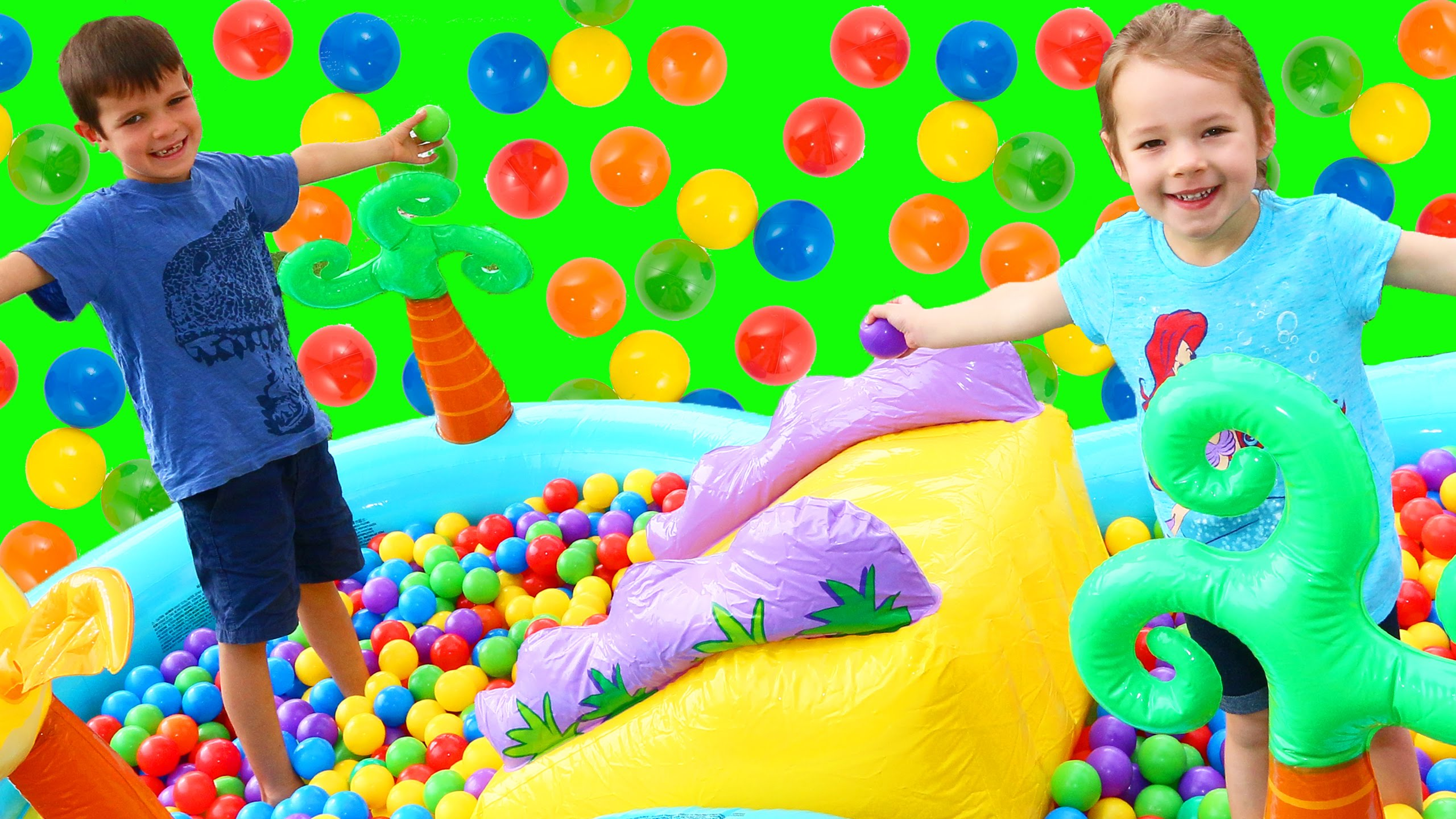 Giant Ball Pit SWIMMING POOL & Slide Surprise Toys DisneyCarToys Kids Fun Ballpit