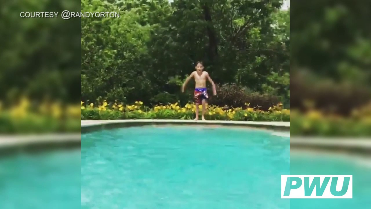 Randy Orton Hits An RKO On His Son In The Swimming Pool (VIDEO)