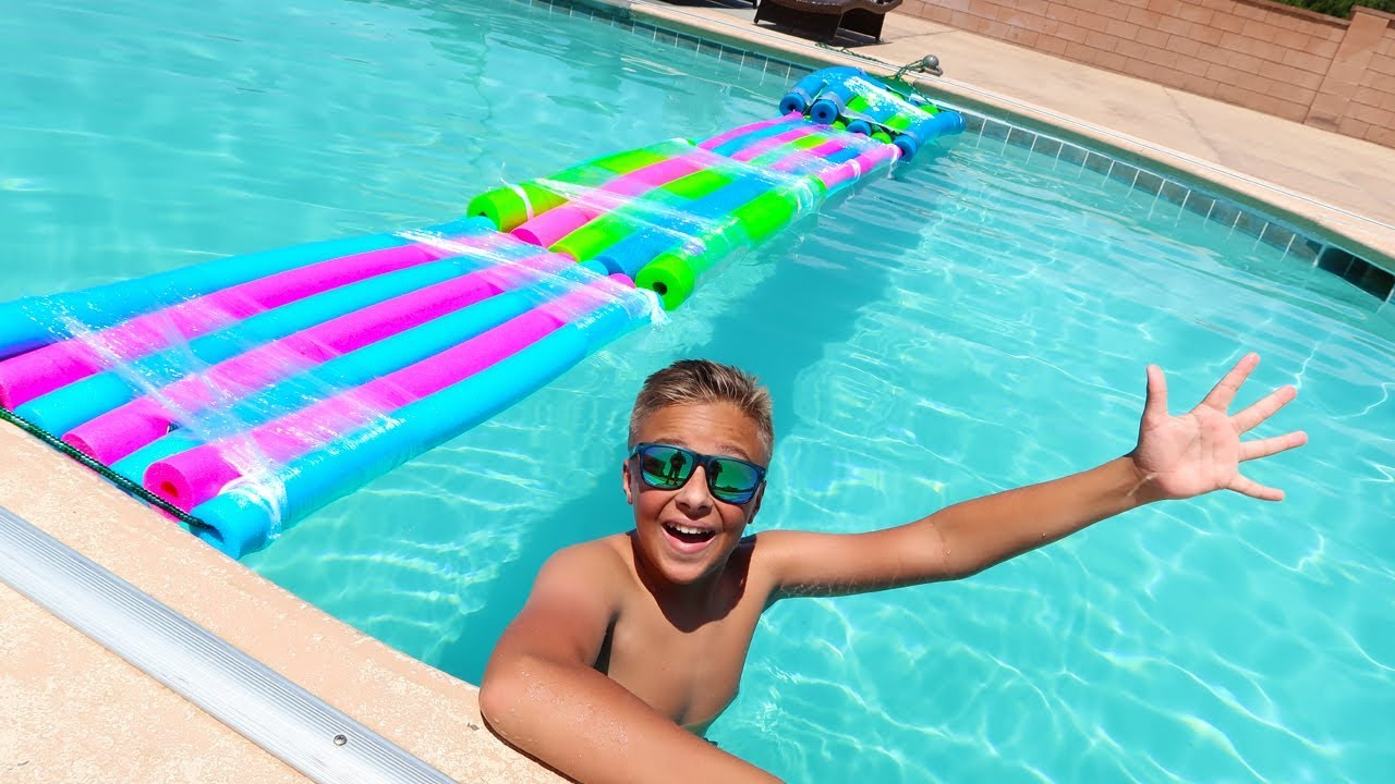 Pool Noodle Bridge Experiment Backyard Swimming Pool Bridge Challenge?!